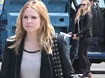 Sexy mama! Kristen Bell shows off her post-pregnancy curves in tight black jeans on the set of Veronica Mars film
