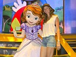 Gisele Bundchen poses with Princess Sofia, the star of Disney Junior's popular animated series,