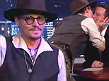 Kissing star: Johnny Depp smooched with talk show host Jimmy Kimmel three times on Monday night