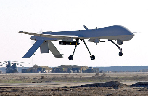 MQ-1 Predator UAS: An MQ-1 Predator unmanned aerial vehicle lands at a base in Southwest Asia. The Predator is a remotely piloted vehicle that interdicts and conducts armed reconnaissance against critical, perishable targets. (U.S. Air Force photo/Staff Sgt. Suzanne M. Jenkins)