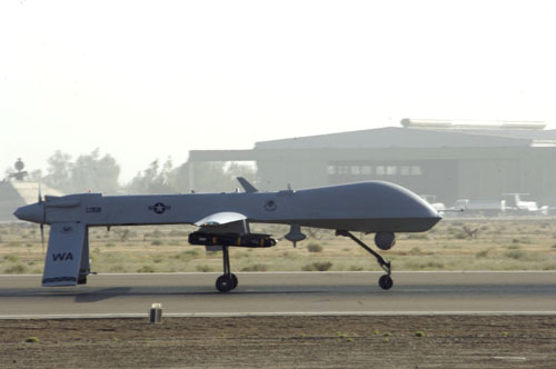 MQ-1 Predator UAS: An MQ-1 Predator unmanned aerial vehicle taxis down the runway at Balad Air Base, Iraq, on Wednesday, June 14. The Predator can employ two laser-guided Hellfire anti-tank missiles. (U.S. Air Force photo/Airman 1st Class Andrew Oquendo)