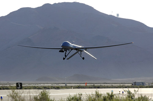 MQ-1 Predator UAS: An MQ-1 Predator unmanned aerial vehicle takes off from Creech Air Force Base, Nev., May 11, for a training sortie over the Nevada desert. (U.S. Air Force photo/Staff Sgt. Brian Ferguson)