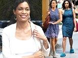 Time for a change! Rosario Dawson goes from feminine in blue floral frock to comfy in slippers on set of her new film