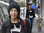 Like mother like son: Dannii and her son Ethan wear matching beanie hats out and about in Melbourne