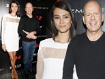 Bruce Willis casually dons blue jeans alongside his far dressier wife Emma for MOMA screening of Red 2