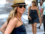 Jennifer Aniston legs it around set of new movie Squirrels To The Nuts in short sundress after attending Jimmy Kimmel's wedding