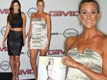 Going for gold! Volleyball star Kerri Walsh Jennings proudly poses with her naked photo spread as she joins Katherine Webb at ESPN party