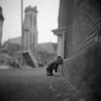 Sad emo teddy in the city by Patrick Joust