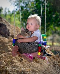 Two Best Friends On A Swing