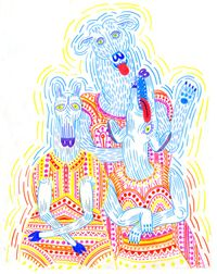 Things Wearing Dresses (vibration drawing) - Lisa Hanawalt