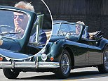 Sweet ride, Mr Solo! Harrison Ford pulls his top down for a lazy afternoon cruise in $150,000 classic convertible