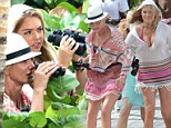 Cameron Diaz and Leslie Mann break out the binoculars to go undercover on set - as Kate Upton almost spills out of her bikini!