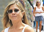 Bloated and make-up free Jennifer Aniston arrives on the set of her movie after enjoying time off over the weekend with fiance Justin Theroux