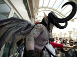 Trick or treat!: This elaborate costume frightened more than a few children at Comic-Con 2013
