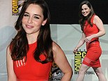 The girl is on fire! Emilia Clarke turns heads in a figure-hugging red number as she leaves the stars at Comic-Con