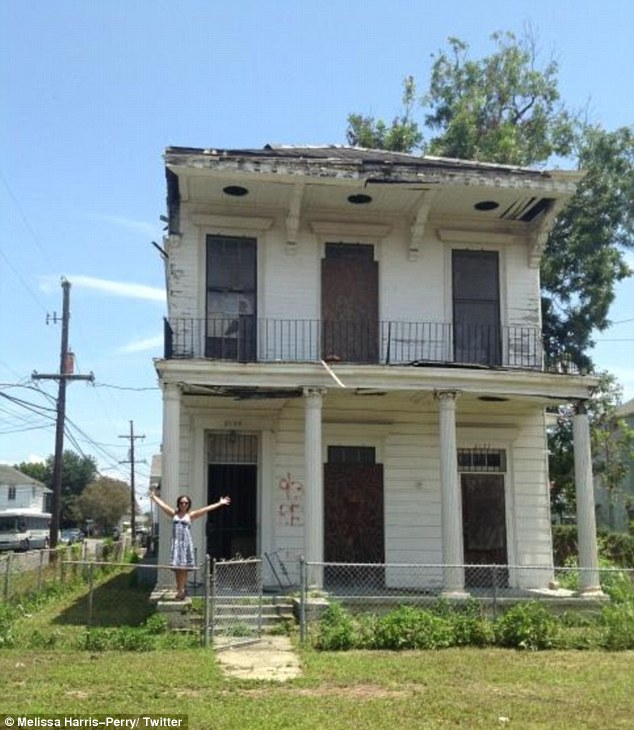 Home: Last week Melissa Harris-Perry tweeted this photo of the house she and her husband just purchased, calling it a 'blighted but beautiful' two storey home