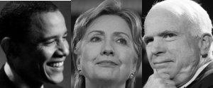 Barack Obama, Hillary Clinton, John McCain