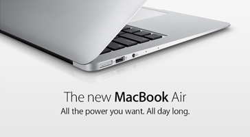 The new MacBook Air. All the power you want. All day long.