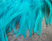 Aqua Sky Blue Rooster Saddle Feathers -- over 50 feathers