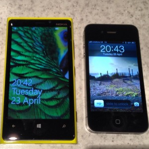 Lumia 920 next to my iPhone