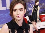 Show him what he's missing! Lily Collins dazzles in lacy nude dress days after 'split from Mortal Instruments co-star Jamie Campbell Bower'