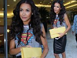 Supergirl! Naya Rivera slips into a leather skirt and hero T-shirt to promote new single Sorry featuring boyfriend Big Sean