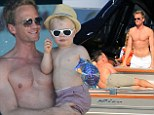 Bronzing Barney: Neil Patrick Harris works on his Riviera tan as he strips off for boat trip with his family and David Furnish