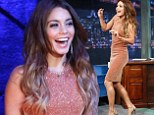 'Party time!' Vanessa Hudgens positively glitters in a figure hugging dress as she dances on Late Night With Jimmy Fallon