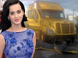 Pictured: Katy Perry's 18-wheeler truck damaged after being hit by drunk driver while promoting her latest album Prism