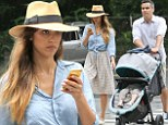 Country cutie! Jessica Alba in a denim shirt and gingham shirt as she strolls the streets of the Hamptons with husband Cash Warner and daughter Haven