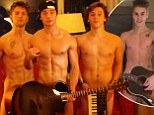 Doing a Bieber! X Factor boy band Emblem3 strip down to mock Justin's infamous naked photographs