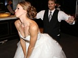 Getting down: At the reception, the former back-up dancer showed off some of his signature dance moves with his new bride