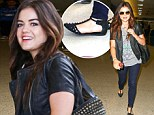 Arriving in style: Lucy Hale sported a pair of chic studded flats as she landed at LAX on Tuesday