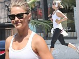 Fit as a fiddle! Julianne Hough parades her slim figure in monochromatic workout gear on an afternoon jog