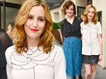 No period costume then: The Downton Abbey girls turn up in modern monochrome as they launch series four of the hit drama