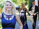 Michael Bublé's wife Luisana shows off her baby bump in stunning maxi dress for friend's wedding as she approaches the final week of her pregnancy