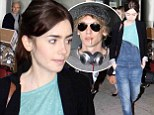 Lily Collins sports baggy dungarees as she jets in to Toronto for film premiere... with ex-boyfriend Jamie Campbell Bower in tow