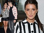 In a world of their own: Shenae Grimes and husband Josh Beech looked loved up as she steps out in stripes and shorts