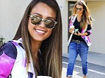 'I don't have the body of a 14-year-old anymore': Jessica Alba steps out in baggy harem jeans after revealing she has 'a muffin top'