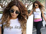 'Stay weird': Vanessa Hudgens shows off her toned mid-riff and belly button ring in graphic T-shirt after a gruelling spin class