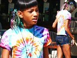 Bright young thing! Willow Smith stands out with tie dye top and rainbow coloured hair as she dines at fast food joint Subway