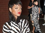 She's a wild one: Rihanna steps out in full length zebra print dress for a night out in the Big Apple