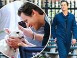 Dog and Bomer! Matt charms adorable pooch on the set of White Collar in New York