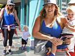 Blue is the colour! Hilary Duff matches her top to son Luca's cobalt shoes on play date marking her third wedding anniversary
