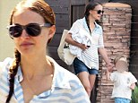 Sugar fix! Natalie Portman parades her pins in jeans shorts while indulging son Aleph with two lollipops