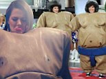 Getting desperate? Now Khloe Kardashian and Kris Jenner don inflatable Sumo suits in bid to drum up interest in chat show