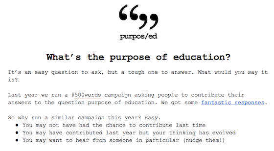 Screenshot of the Purpos/ed #500word contributions