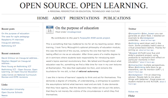 A snapshot of Miles Berry's blog post on the purpose of education