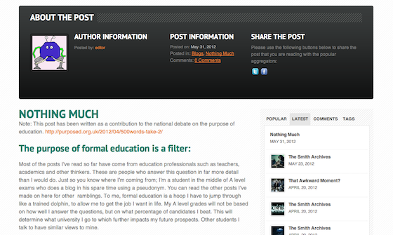 A screenshot of James Elmash's blog post for purpos/ed