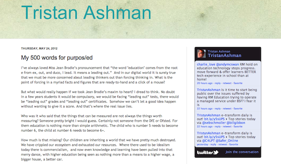 Screenshot of Tristan Ashman's 500word post